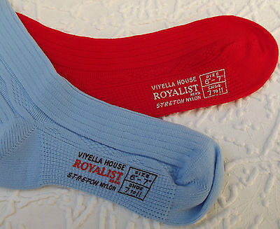 Childrens vintage socks 1960s Boys & girls school uniform ROYALIST red blue